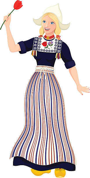 dutch girl - dutch traditional clothing stock illustrations, clip art, cartoons, & icons