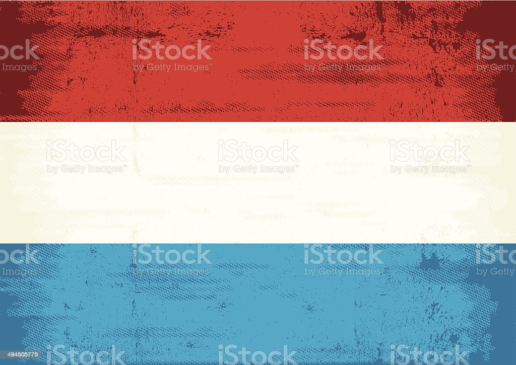 Dutch grunge flag vector art illustration