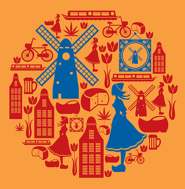 dutch icon montage - dutch traditional clothing stock illustrations, clip art, cartoons, & icons