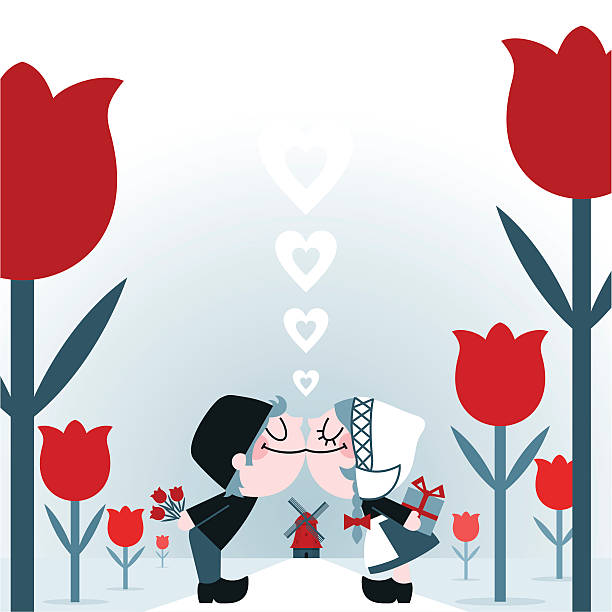 dutch kiss netherlands love couple travel valentines illustration vector - dutch traditional clothing stock illustrations, clip art, cartoons, & icons
