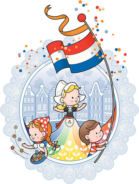 dutch queens day celebration lace border - dutch traditional clothing stock illustrations, clip art, cartoons, & icons