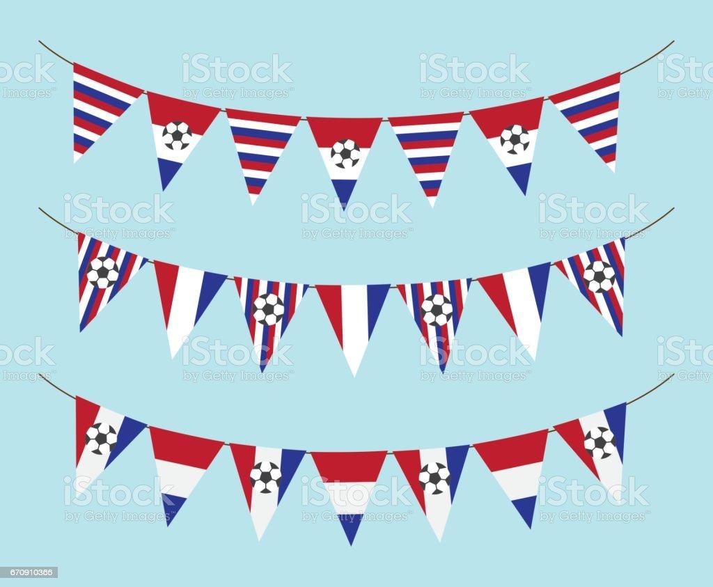Dutch soccer flag garland - ilustración de arte vectorial