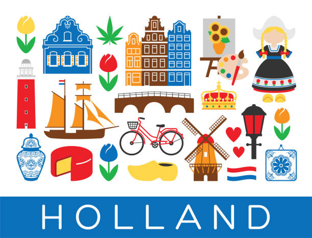 dutch travel icons holland landmarks amsterdam netherlands - holandia stock illustrations