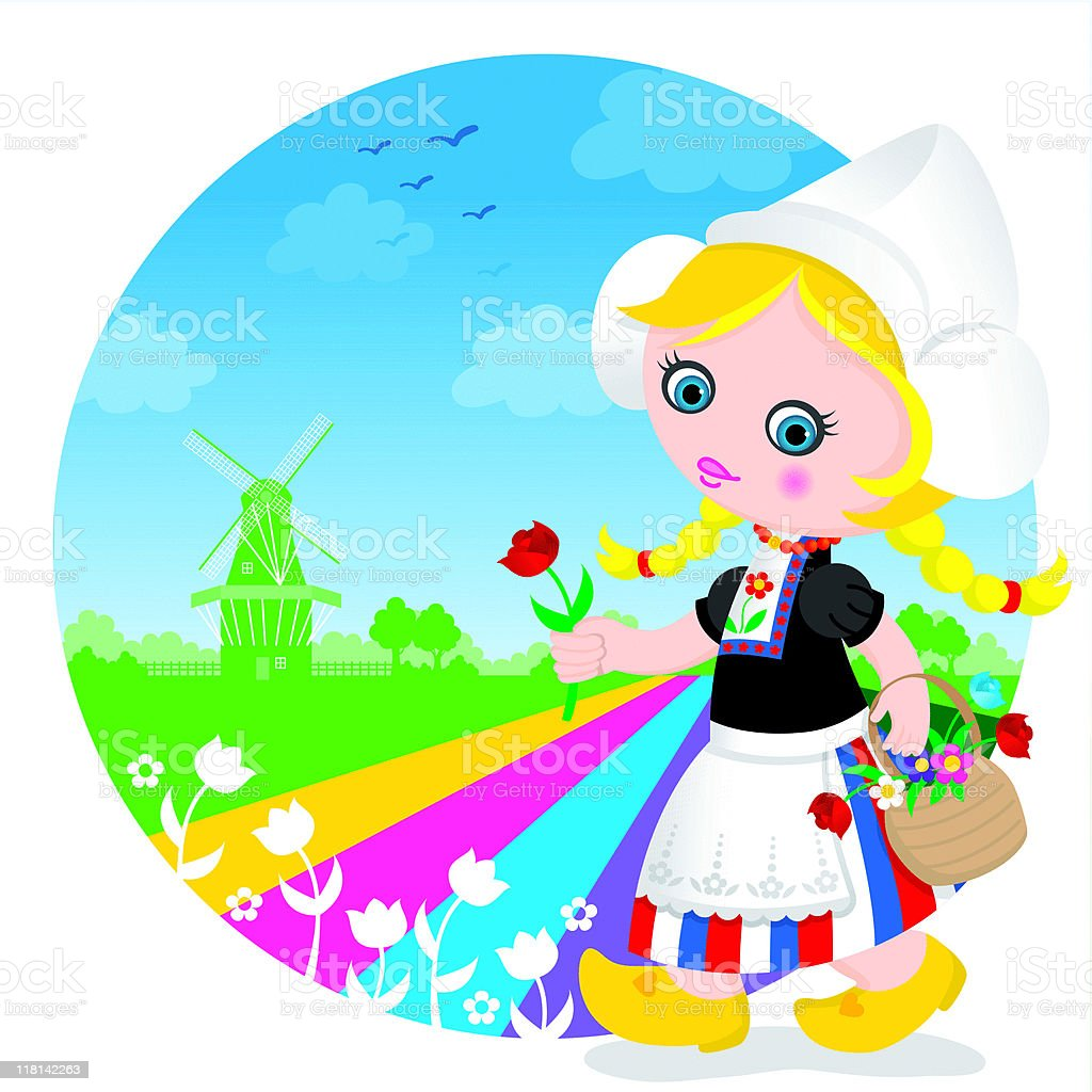 Dutch tulip cute girl royalty-free stock vector art