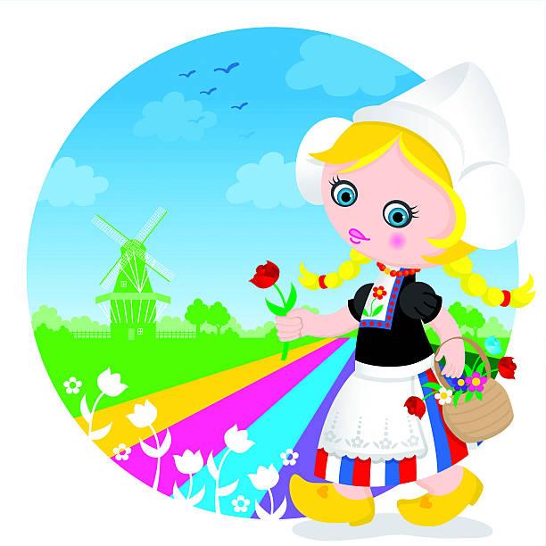 dutch tulip cute girl - dutch traditional clothing stock illustrations, clip art, cartoons, & icons