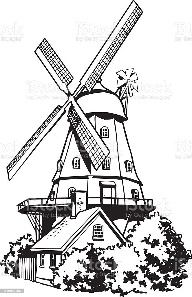 Dutch Windmill Vector Clipart Royalty Free Stock Art Amp