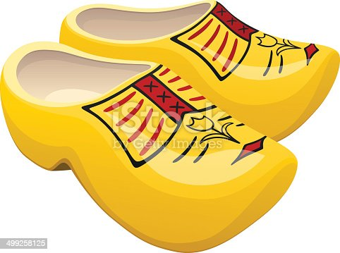 Vector illustration of a pair of yellow Dutch wooden shoes with a decorative tulip design. Illustration uses linear gradients and transparencies. Both .ai and AI10-compatible .eps formats are included, along with a high-res .jpg, and a high-res .png with transparent background.