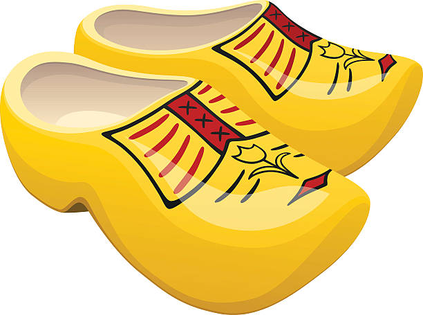 dutch wooden shoes - dutch traditional clothing stock illustrations, clip art, cartoons, & icons