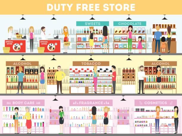 stockillustraties, clipart, cartoons en iconen met duty free interieur set. - warenhuis