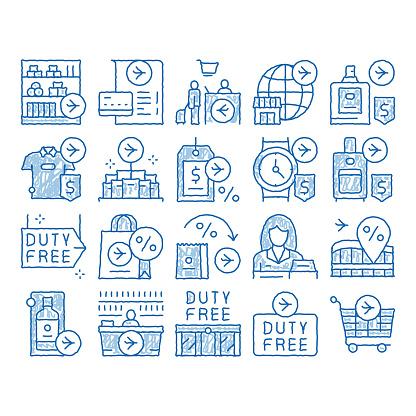 Duty Free Shop Store icon hand drawn illustration