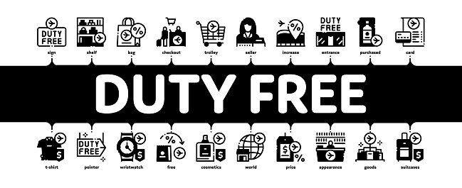 Duty Free Shop Store Minimal Infographic Banner Vector