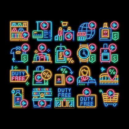 Duty Free Shop Store neon glow icon illustration