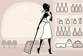 An elegant woman at the airport doing some duty free shopping. Click below for more fashion and shopping images