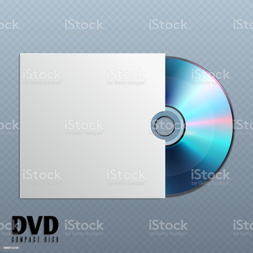 Dvd cd disk with white empty envelope cover vector illustration vector art illustration