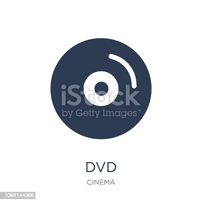 Dvd icon. Trendy flat vector Dvd icon on white background from Cinema collection, vector illustration can be use for web and mobile, eps10