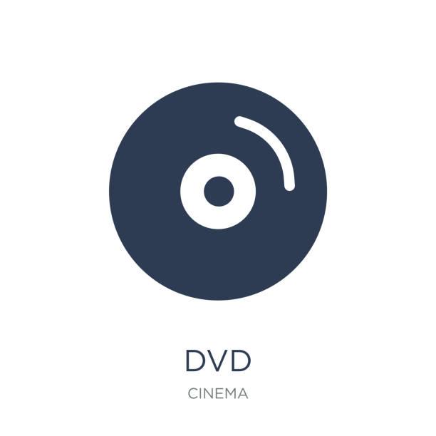 ilustrações, clipart, desenhos animados e ícones de ícone de dvd. ícone de dvd moderno vetor plana no fundo branco da coleção de cinema - cd