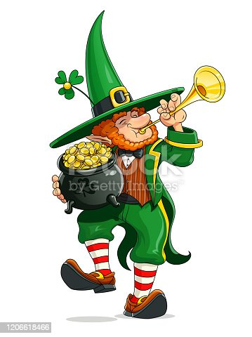 istock Dwarf with pot of golden coin. Saint Patricks day. Vector illustration. 1206618466