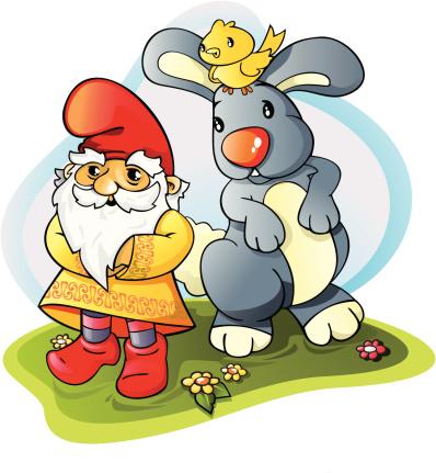 Dwarf with rabbit and bird