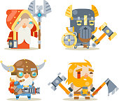 Dwarfs Warrior Defender Rune Mage Priest Berserker Engineer Inventor Worker Fantasy RPG Game Character Vector Icons Set Vector Illustration
