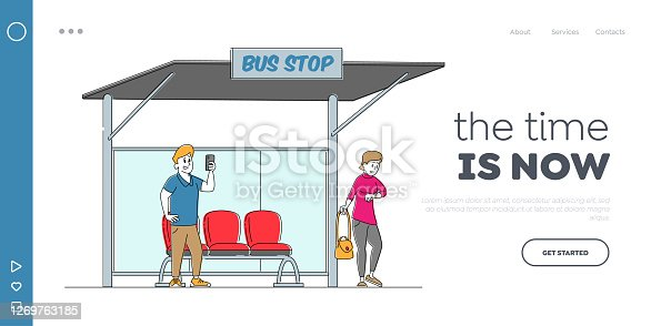 Dwellers Characters on Bus Station Landing Page Template. Man Read Messages on Smartphone, Woman Watching on Watches, Citizen Waiting Public City Transport, Commuter. Linear People Vector Illustration