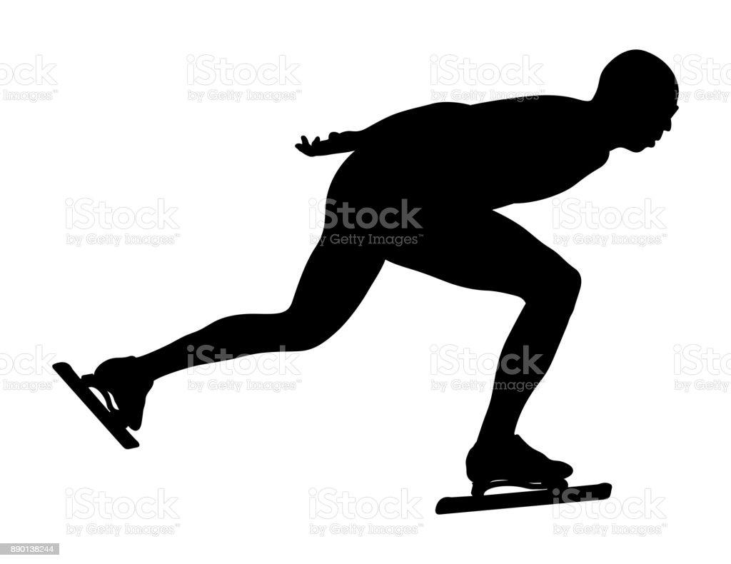 dynamic athlete speedskater vector art illustration