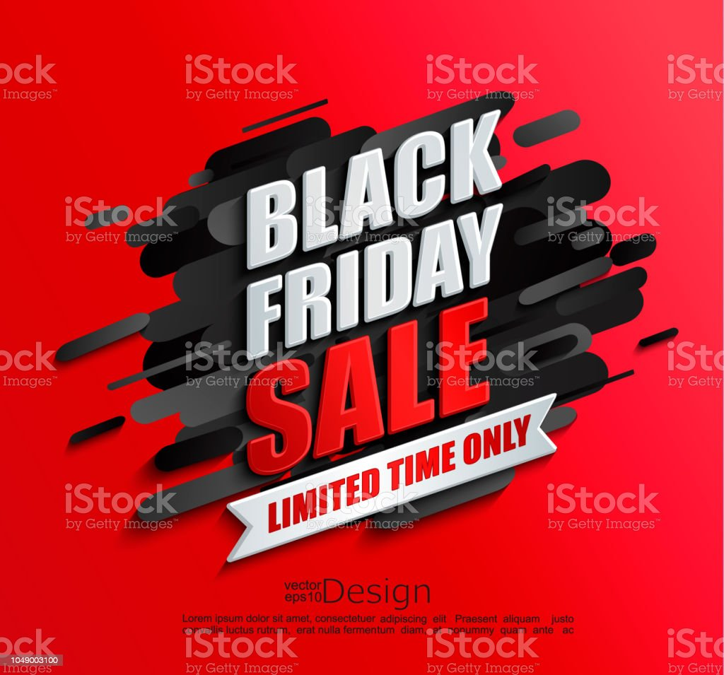 Dynamic black friday sale banner on red background - Royalty-free Abstrato arte vetorial