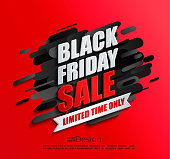 Dynamic black friday sale banner on red background. Perfect template for flyers, discount cards, web, posters, ad, promotions, blogs and social media, marketing. Vector illustration.
