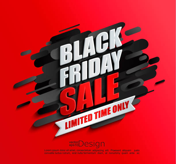 Dynamic black friday sale banner on red background Dynamic black friday sale banner on red background. Perfect template for flyers, discount cards, web, posters, ad, promotions, blogs and social media, marketing. Vector illustration. black friday sale stock illustrations