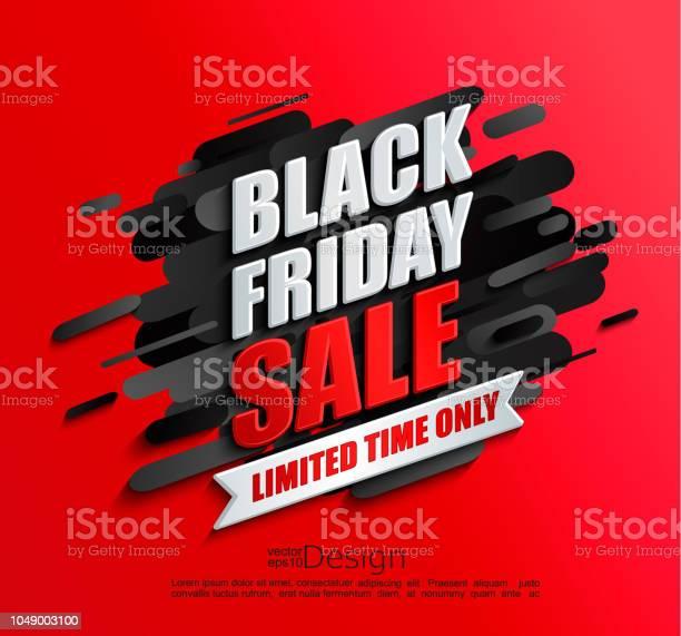Dynamic Black Friday Sale Banner On Red Background - Arte vetorial de stock e mais imagens de Abstrato