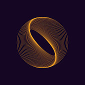 Dynamic circle shape. Abstract modern graphic element. Colorful linear waves design. Vector template.