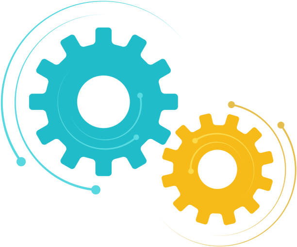 dynamic cogs synchronized movement of cogs design element equipment stock illustrations