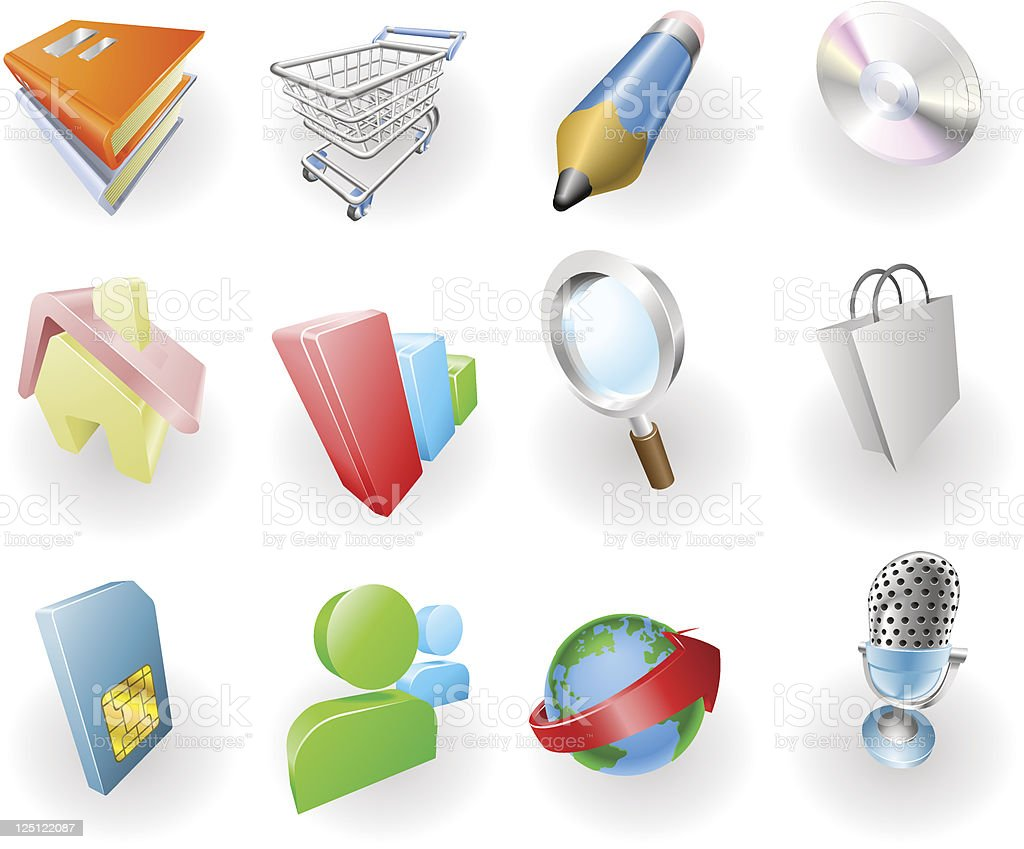 Dynamic Colour Web and Application Icon Set royalty-free stock vector art
