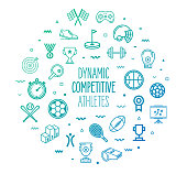 Dynamic competitive athletes outline style symbols on modern gradient background. Line vector icons for infographics, mobile and web designs.