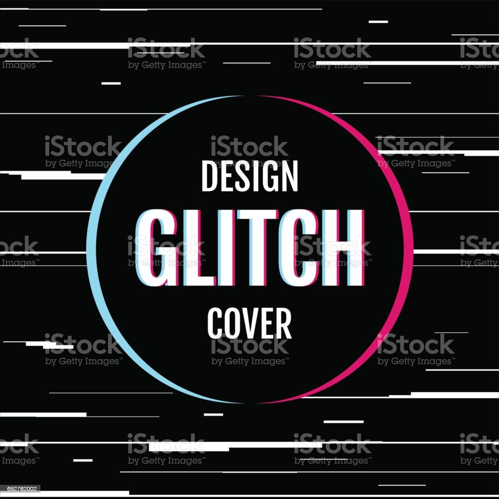 Dynamic design cover with effect glitch. vector art illustration