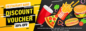 Dynamic discount voucher with 30 percent price off for restaurans and cafes. Fast food coupon or certificate with pizza, hot dog, fries, coffee, burger and space for text.Flyer template.Vector