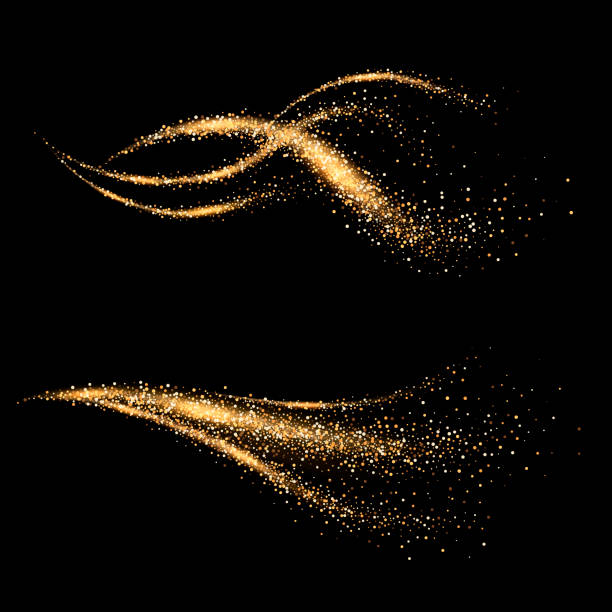 dynamic golden waves. shimmering star dust trail. abstract motion. magic swirl lines - paranormalny stock illustrations