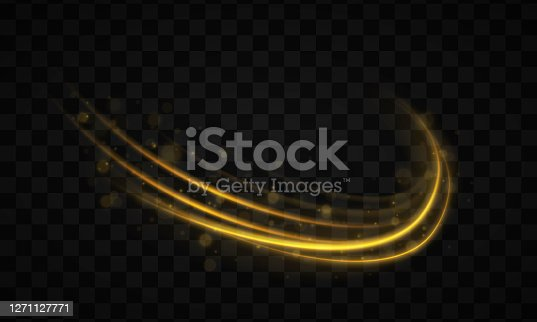Golden line with light effect. Dynamic golden waves with small parts on transparent background. Yellow dust. Bokeh effect. Dust of yellow sparks, stars shine with special light. Vector illustration.