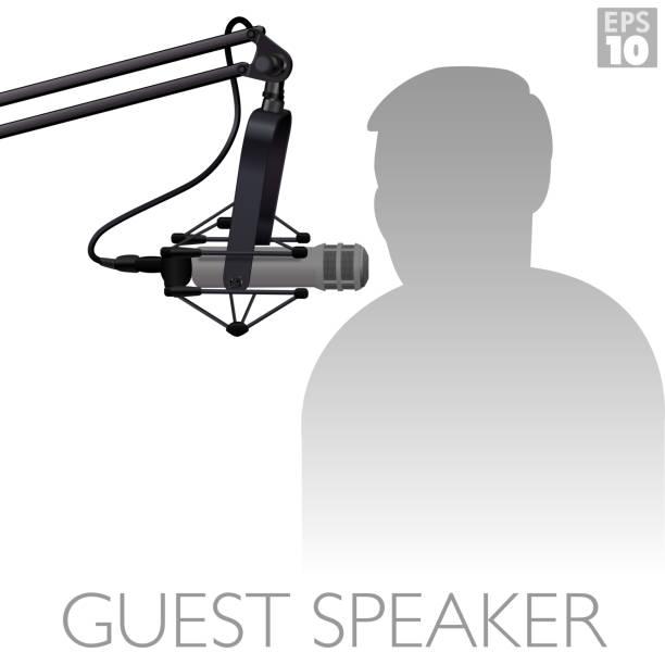 illustrazioni stock, clip art, cartoni animati e icone di tendenza di a dynamic microphone used by broadcasters, guest speakers and podcasters to record voice audio professionally. - organizzatore della festa