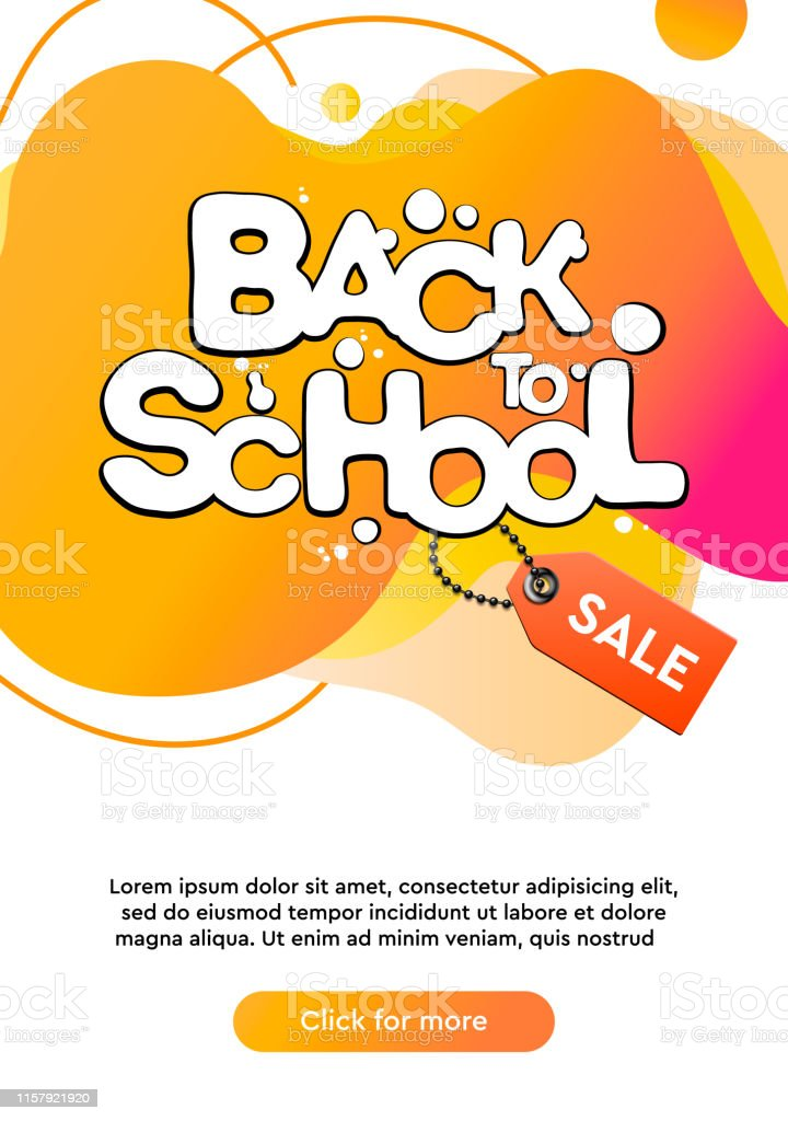 Dynamic modern fluid mobile for Back to School Sale banner. School...