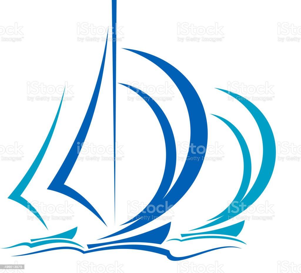 Dynamic motion of sailboats vector art illustration