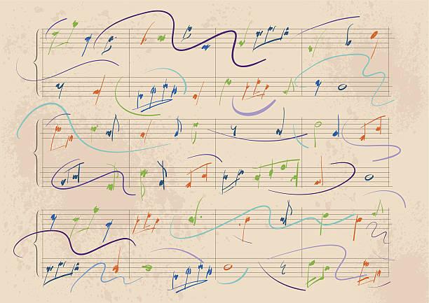 dynamiczne muzyczny wynik - zapis nutowy stock illustrations