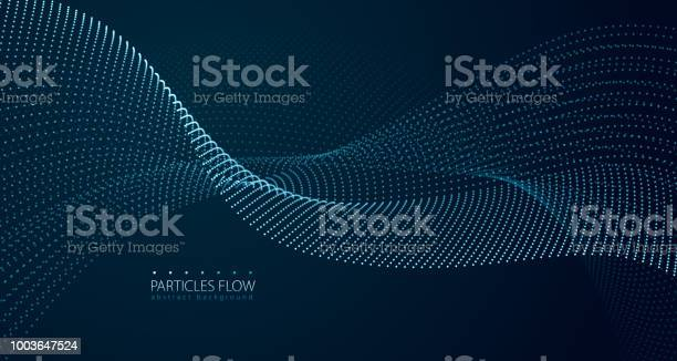 Dynamic Particles Sound Wave Flowing Over Dark Blurred Lights Vector Abstract Background Beautiful Wave Shaped Array Of Glowing Dots - Stockowe grafiki wektorowe i więcej obrazów Abstrakcja
