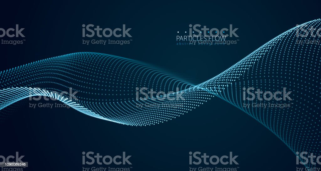 Dynamic particles sound wave flowing over dark. Blurred lights vector abstract background. Beautiful wave shaped array of glowing dots. - Grafika wektorowa royalty-free (Abstrakcja)