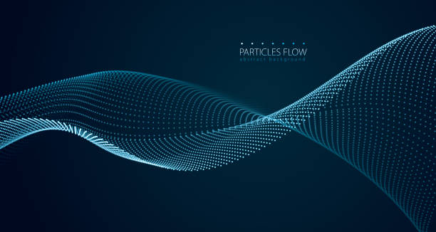 ilustrações de stock, clip art, desenhos animados e ícones de dynamic particles sound wave flowing over dark. blurred lights vector abstract background. beautiful wave shaped array of glowing dots. - particles