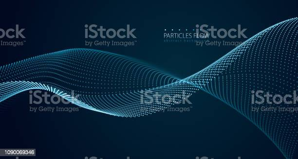 Dynamic Particles Sound Wave Flowing Over Dark Blurred Lights Vector Abstract Background Beautiful Wave Shaped Array Of Glowing Dots - Stockowe grafiki wektorowe i więcej obrazów Abstrakcja