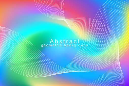 VECTOR DESIGN ABSTRACT LINE TECHNOLOGY COLORFUL BACKGROUND. Dynamic shape composition. Minimal geometric template design.