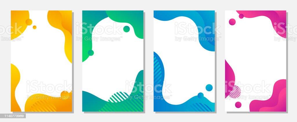 Dynamisk stil banner design set med flytande färgglada gradient former. Kreativ illustration för affisch, omslag, kort, sociala medier och flyg blad. - Royaltyfri Abstrakt vektorgrafik