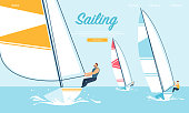 Dynamic Team Struggle Regatta Sailing Ship, Summer Time Water Competition, Leisure, Sports Activity, Recreation Outdoors Lifestyle, Extreme Sport, Windsurfing Cartoon Flat Vector Illustration, Banner