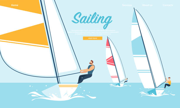 Dynamic Team Struggle Regatta Sailing Ship, Summer Dynamic Team Struggle Regatta Sailing Ship, Summer Time Water Competition, Leisure, Sports Activity, Recreation Outdoors Lifestyle, Extreme Sport, Windsurfing Cartoon Flat Vector Illustration, Banner sail stock illustrations