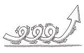 Hand-drawn vector drawing of a Dynamic Twisted Arrow moving upwards. Black-and-White sketch on a transparent background (.eps-file). Included files are EPS (v10) and Hi-Res JPG.